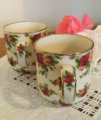 """Four Royal Albert Fine China Mugs, """"Old Country Roses"""" Never Used."""