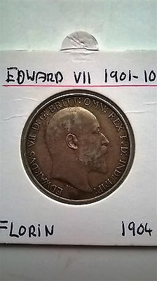 Florin / Two Shillings Edward Vii 1904 Coin