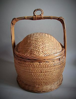 Antique Wicker And Split Bamboo Lucky Wedding Chinese Rice Basket Dome Lid