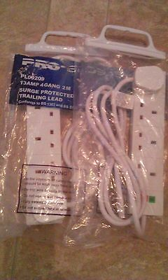 2x 4 Gang / Way 2m Surge Protected Extension Lead 13 Amp Trailing socket BS 1363