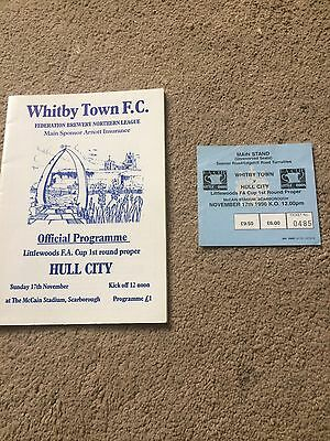 WHITBY TOWN v HULL CITY FA CUP + TICKET 1st ROUND PROPER 1996  @ SCARBOROUGH