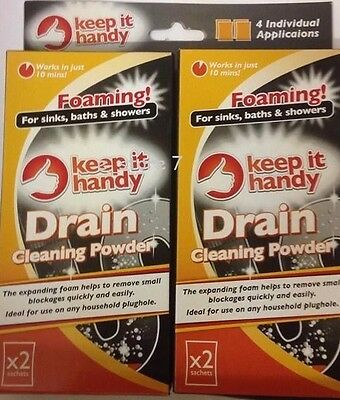 Drain Cleaner Powder For Blocked Sink Basin, Twin Pack Foaming Drain Cleaner