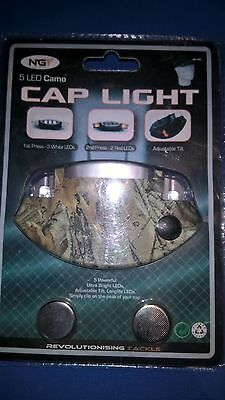 Led Cap Light Ngt Five Led Camo Camouflage In Colour, Dusk & Night Fishing Aid.
