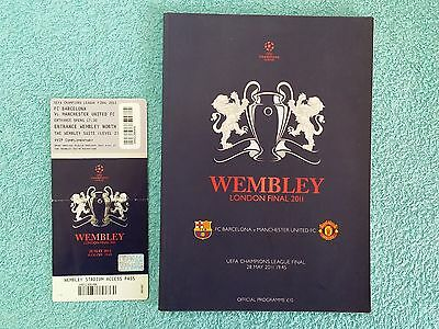 2011 - CHAMPIONS LEAGUE FINAL PROGRAMME + TICKET - BARCELONA v MANCHESTER UNITED