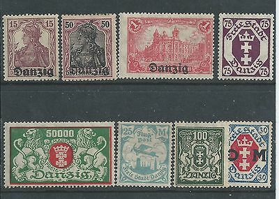 Danzig - 1930's - Eight different values - Mounted Mint