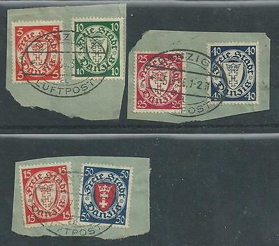 Danzig - 1930's Mail Clippings - Six different values - Used on Piece