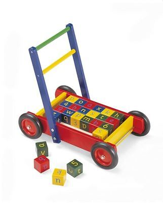 TIDLO WOODEN BABY WALKER WITH BLOCKS - Next Day Delivery Available