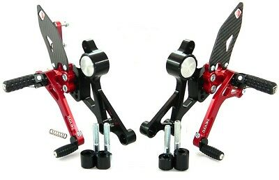 Ducabike Ducati Monster 696 795 796 1100 Adjustable Rearsets - Black-Red