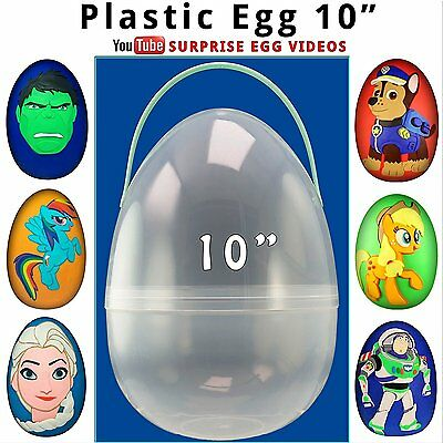 """Giant Plastic Egg Perfect Surprise Egg 10"""" XL Clear Jumbo Egg fill with Toys"""