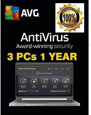 1 Year 3 Users/pc Avg Anti-Virus Internet Security 2017 - 100% Genuine
