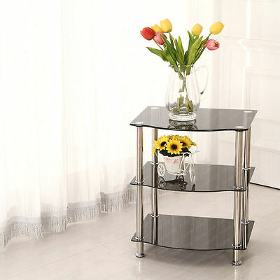 3-Tier Corner End Table Black Glass Storage Shelf Stand Display Unit Chrome Legs