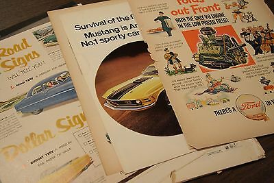 Lot 36 FORD/MERCURY Vintage Magazine Car Ads 1940s-60s Mustang/Fairlane/Lincoln