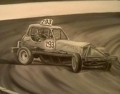 Brisca f1 stock car painting on canvas Gordon Smith # 293 black and white.