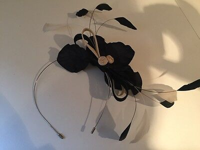Ladies black and cream fascinator