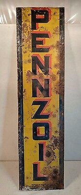 Rare Vintage Pennzoil Vertical Tin Gas Station Advertising Sign - COOL! 50x13!