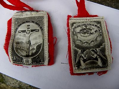 Antique Christian Scapular~7 Layers~Special Relic~Crucifixtion~Angels~Hearts