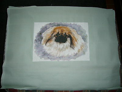 Pekingese Completed Cross Stitch