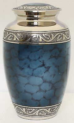 Large Cremation Urn for Ashes, Adult Funeral Memorial Remembrance Urn Blue Brass