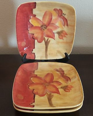 222 Fifth Chinoiserie Cheri Blum Red Flowers on Red/Tan 3 Salad Plates Square