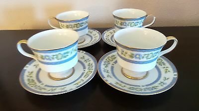 Sango China Trianon Footed Cups/Saucer 3728 Blue Bans Green Flowers,Gold Trim x4