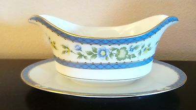 Sango China Trianon Gravy Boat w/ Attached Plate 3728 Blue Flowers,Gold Trim