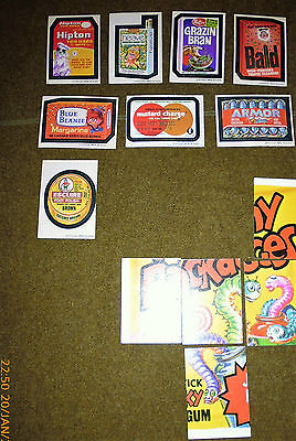 1970s WACKY PACKAGES 4th STICKER LOT hipton HEAVE bald ARMOR mustard charge tan