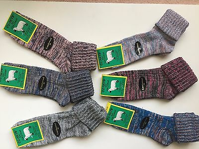 """6 pairs LADIES HIGH QUALITY CHUNKY THERMAL WOOL SOCKS HIKE BOOT SIZE 4-7 HJKMT"