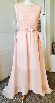 Long Chiffon Lace Mesh Evening Party Bridesmaid Ball Gown Prom Dress 12UK