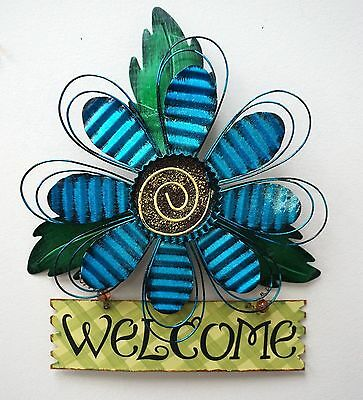 Metal Fence Flowers Welcome Sign Outdoor Spring Wall Decor (Blue) 16''L× 12''W
