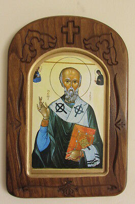 Wooden Icon with carving / St. David / Big size 350x235x17mm.