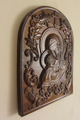 Wooden Icon Carving Virgin Mary / Size 345x23 assembled from seven elements
