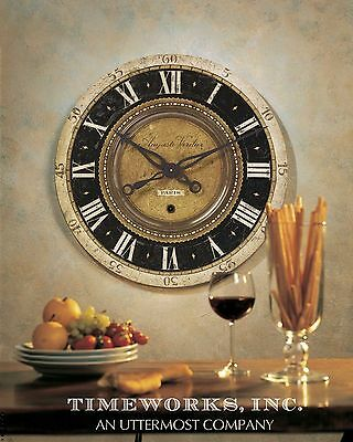 """Stately 27"""" Weathered Lamintaed Black & Aged Brass Round Wall Clock Big Numbers"""