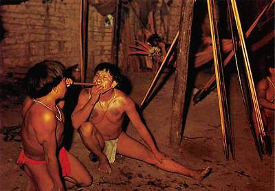 Venezuela Guaica Indians Blowing to each other a Stimulant called Yopo Orinoco