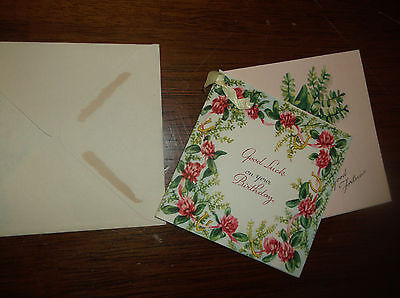 rare vtg good luck and good fortune double birthday card,with ribbon