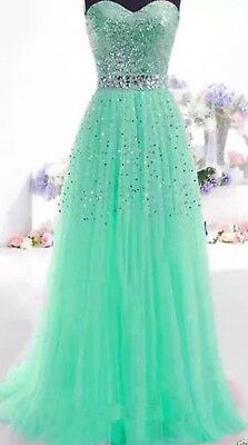 Long Mesh Sequin Evening Party Bridesmaid Ball Gown Prom Zip Dress 12UK