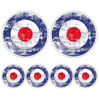 SCOOTER MOD RAF ROUNDEL AGED GRUNGE LARGE LAMININATED STICKER SET vespa Retro