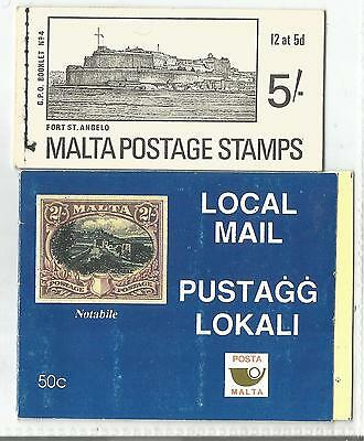 MALTA  2 BOOKLETS POSTAGE STAMPS,5/- FORT ST ANGELO, 50c NOTABILE.