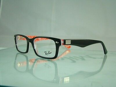 Ray Ban RB 5206 2479 Black & Texture Red + CASE Eyeglasses Frames Size 52