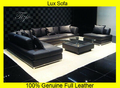 NEW Large BLACK 100% Full Italian Leather Corner Sofa Settee Suite~-,Top Quality
