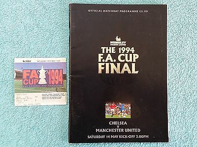 1994 - FA CUP FINAL PROGRAMME + MATCH TICKET - CHELSEA v MANCHESTER UNITED