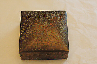 Antique Etched Brass Square Hinged Box India Cedar Wood Lined Cigarette Matches