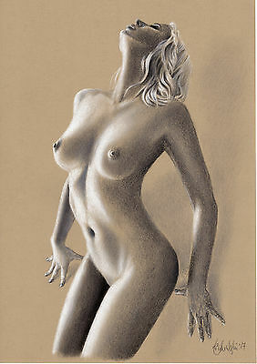 Nude Female Study Art Original Pastel Drawing A3 Size