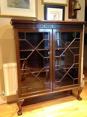 Astragal Glazed Chippendale Style Bookcase Display Cabinet Mahogany