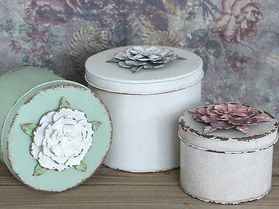 Antique Chic Style Metal Storage Tin Box Rose Flower French Shabby Jewellery