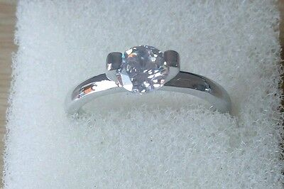Womens engagement/wedding white gold plated ring with cubic zirconia size N 1/2