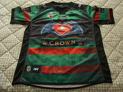 """South Sydney Rabbitohs NRL RUGBY JERSEY SIZE LARGE ARM PIT-ARM PIT 23"""" ."""