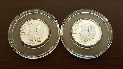 Lot of 2 - 2006 .999 Pure Silver RONALD REAGAN novelty DIME 1/10 ounce Coins
