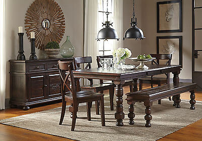 MORGAN - 6pcs Cottage Brown Rectangular Dining Room Table & Chairs Set