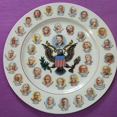 Vintage Past Presidents of the USA Collectible Plate Washington to Jimmy Carter