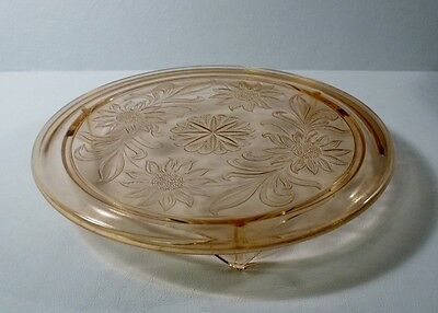 "Vintage Pink Depression Glass SUNFLOWER 10"" Footed Cake Plate"